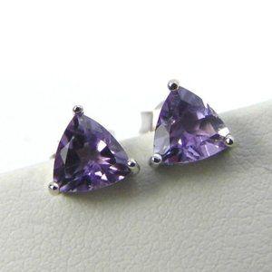 NEW 1.40 ctw Amethyst Trillion Silver Earrings